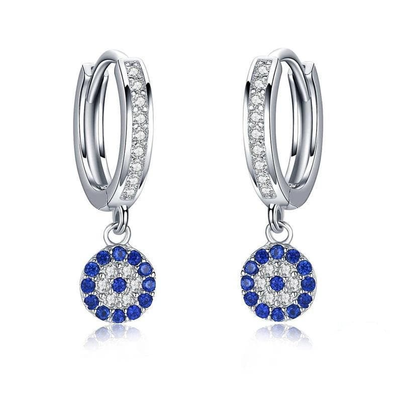 925 Sterling Silver Hoop Evil Eye Earrings - Sutra Wear