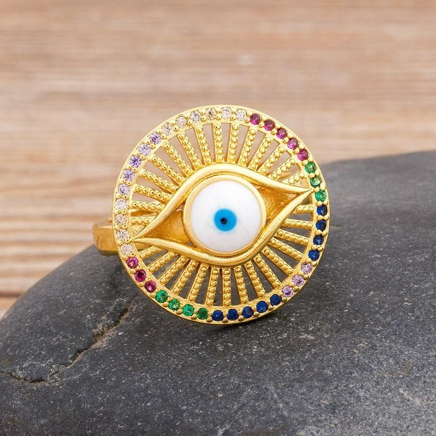 Round Evil Eye Adjustable Ring