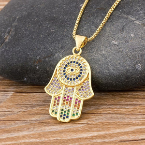 Multi Colored Hamsa Necklace - Sutra Wear