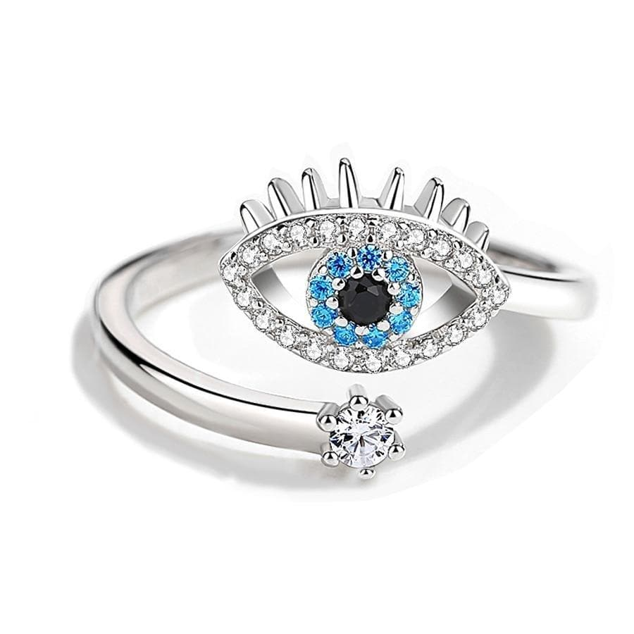 Evil Eye 925 Sterling Silver Zircon Adjustable Ring - Sutra Wear