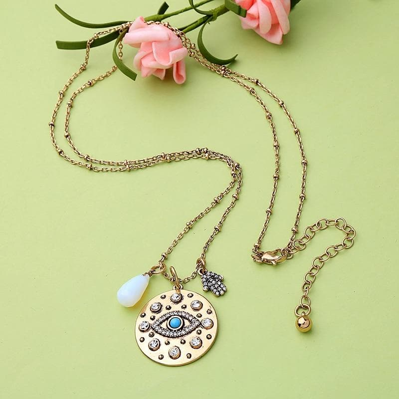 Evil Eye and Hamsa Amulet Boho Necklace - Sutra Wear