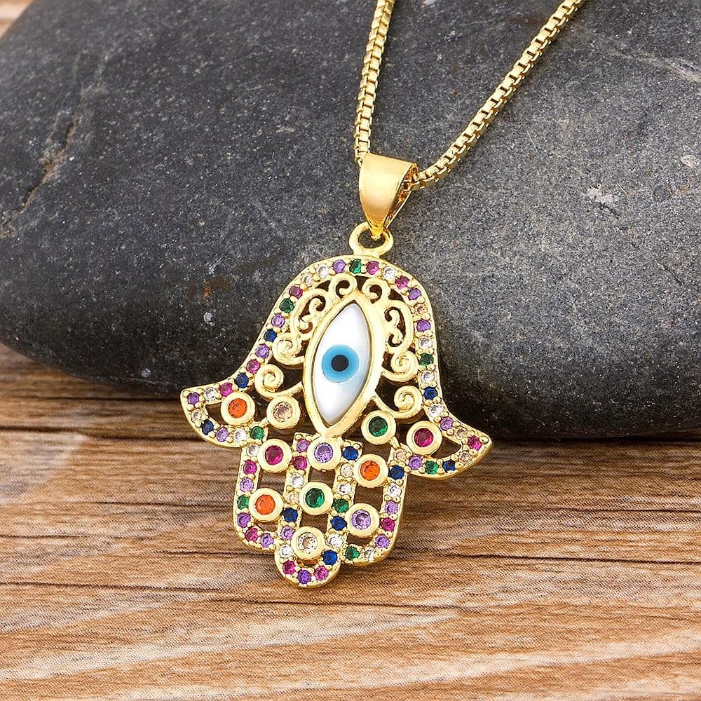 Turkish Evil Eye Hamsa Necklace- Sutra Wear