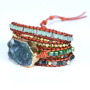 Green Quartz Crystal Charm Wrap Bracelet - Sutra Wear