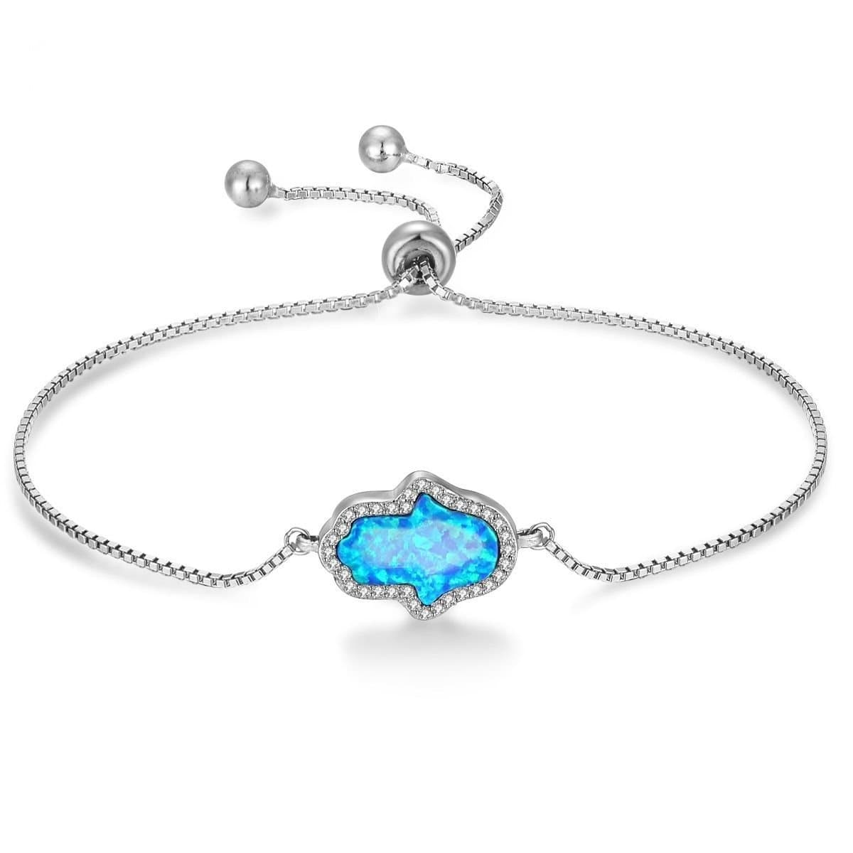 Hamsa Opal 925 Sterling Silver Bracelet Adjustable - Sutra Wear