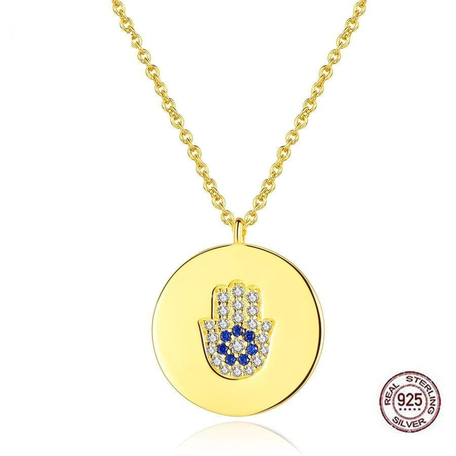 Hamsa Hand/ Evil Eye Coin Necklace 925 Sterling Silver - Sutra Wear