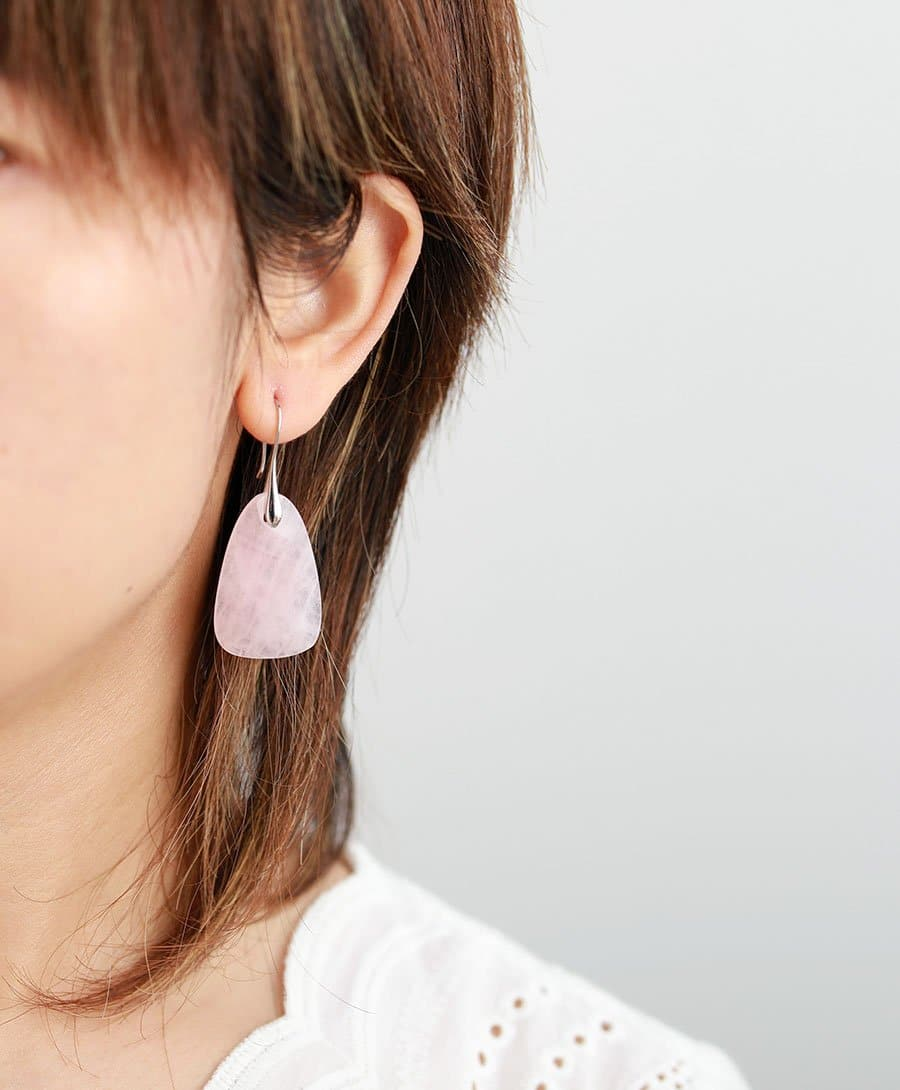 Natural Rose Quartz Drop Earrings - Sutra Wear