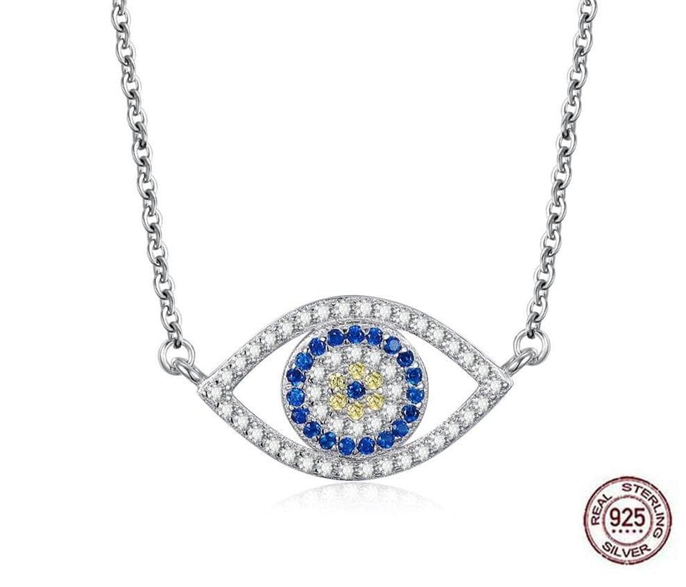 Evil Eye Zircon Stones 925 Sterling Silver Necklace - Sutra Wear