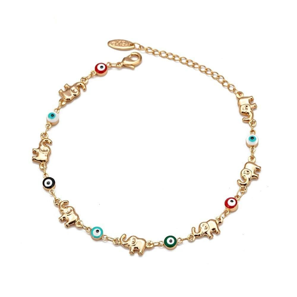 Multi Color Evil Eye and Lucky Elephant Anklet - Sutra Wear