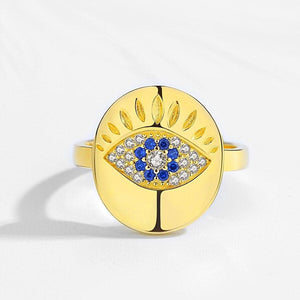 Evil Eye 925 Sterling Silver Gold Plated Ring - SUTRA WEAR