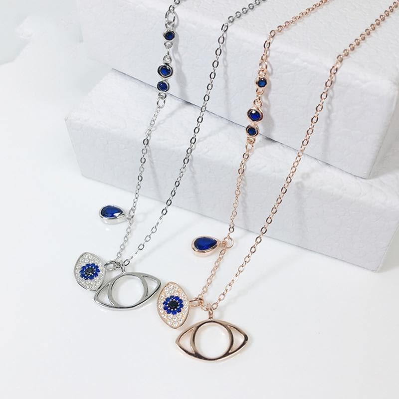 Evil Eye Stone Necklace 925 Sterling Silver - Sutra Wear