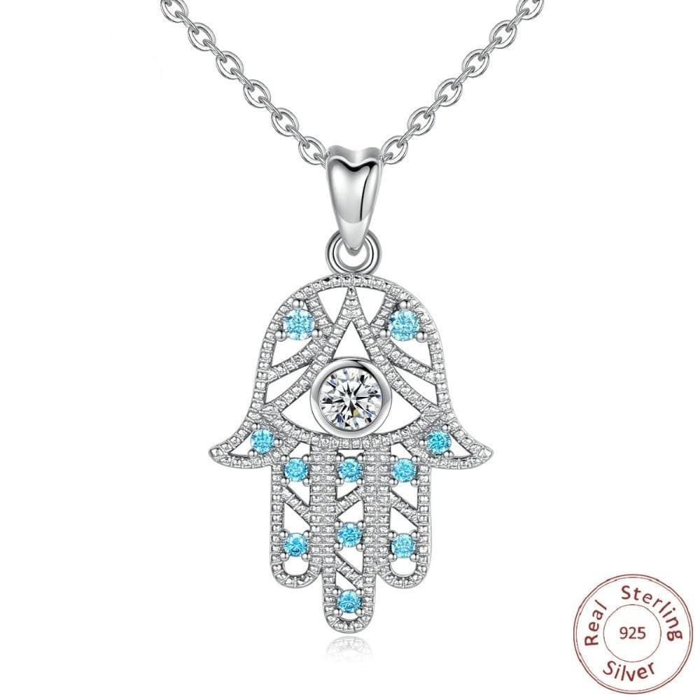 Blue Crystal Evil Eye Hamsa Hand 925 Sterling Silver Necklace - Sutra Wear