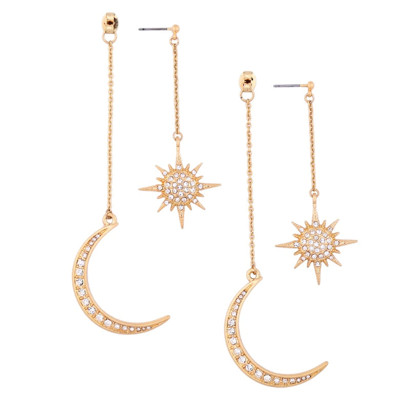 Crystal Moon and Bright Star Earrings