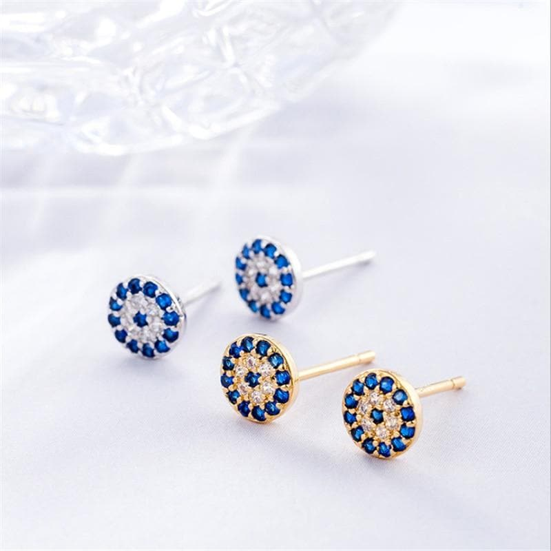 Evil Eye Sterling Silver Studs - Sutra Wear