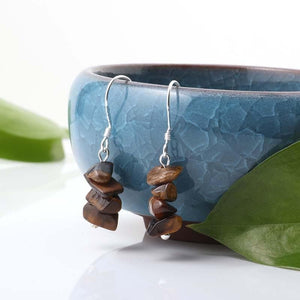 Natural Tumbled Crystal Stone Drop Earrings - Sutra Wear