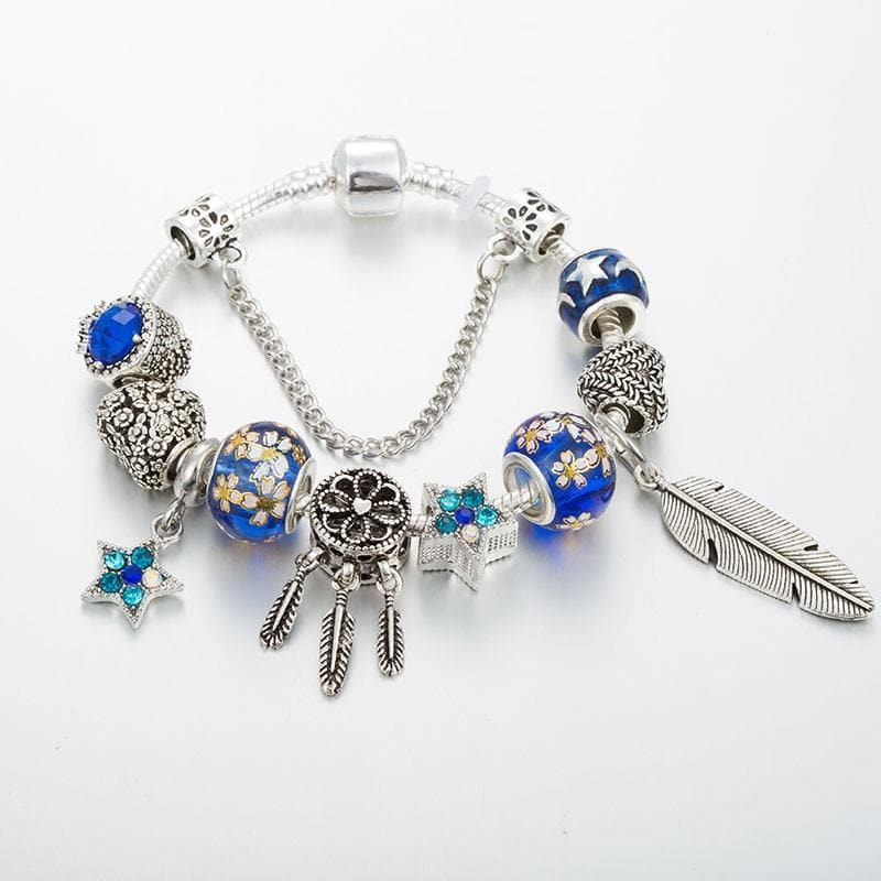 Silver Plated Dream Catcher Charm Bracelet -  Blue - Sutra Wear
