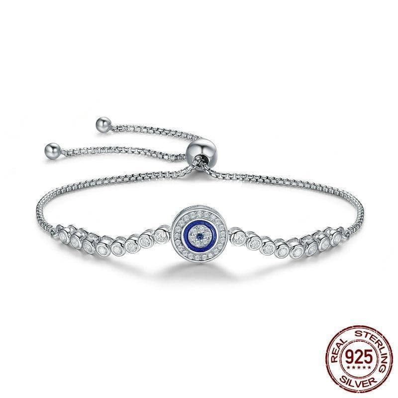 Evil Eye Zircon 925 Sterling Silver Bracelet - Sutra Wear