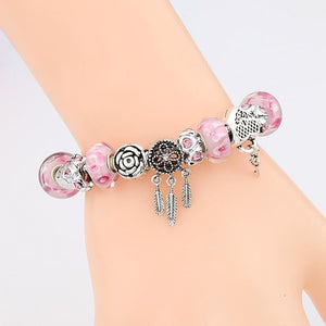 Silver Plated Dream Catcher Charm Bracelet - Premium Pink - Sutra Wear