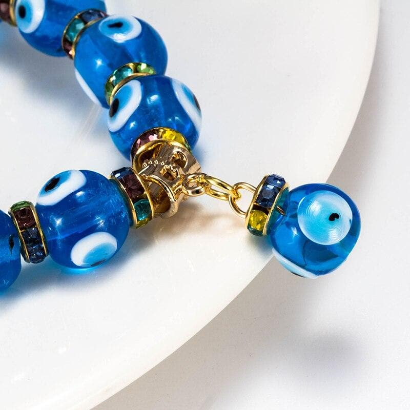 Evil Eye Blue Glass Beads Bracelet- Sutra Wear