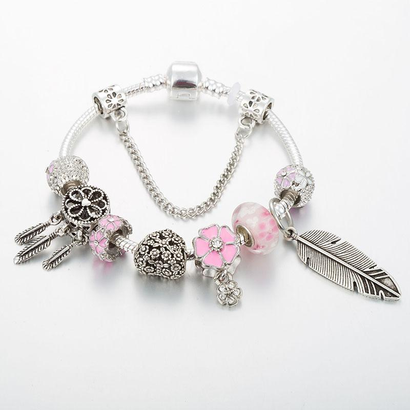 Silver Plated Dream Catcher Charm Bracelet - Pink - Sutra Wear