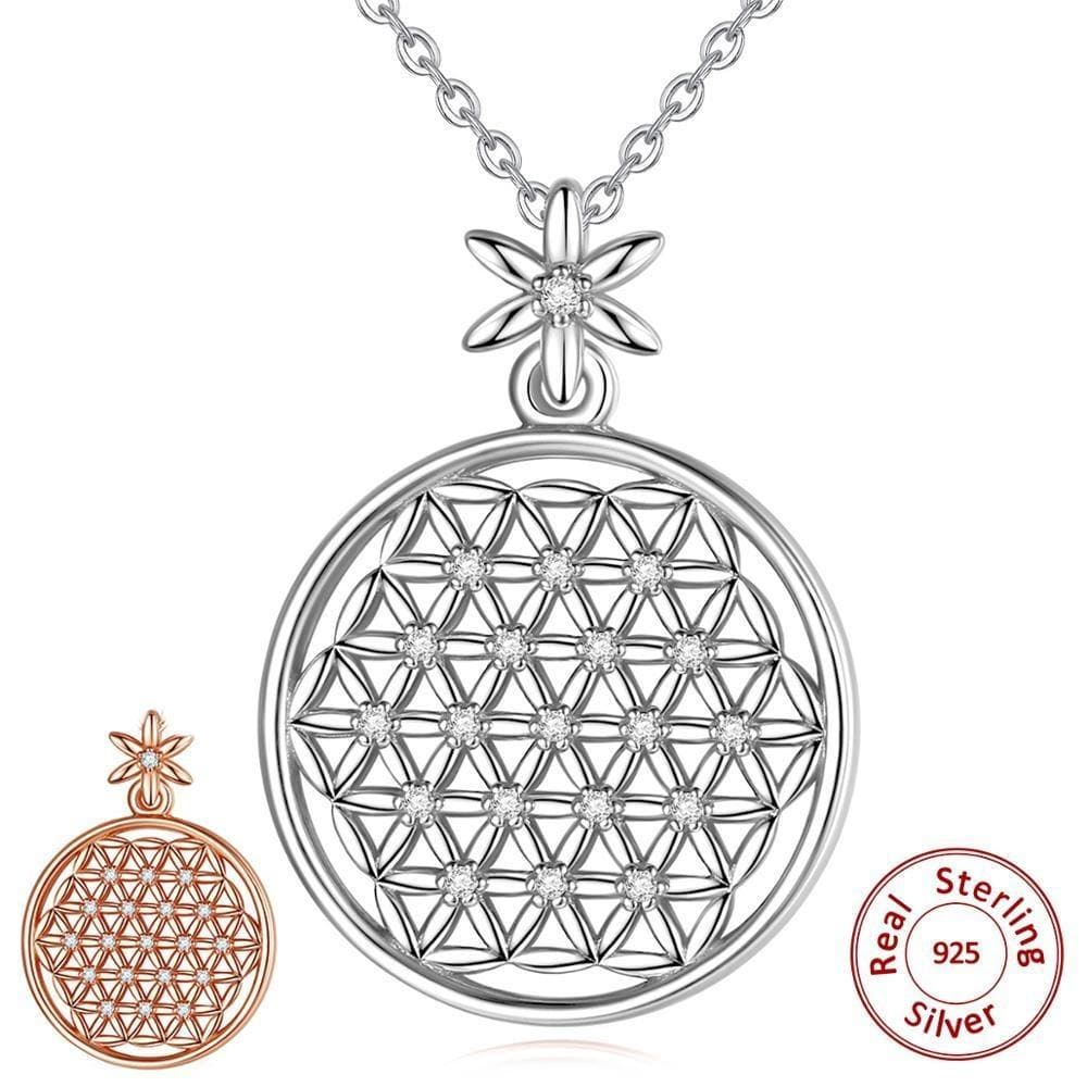 Flower of Life 925 Sterling Silver Necklace- Sutra Wear