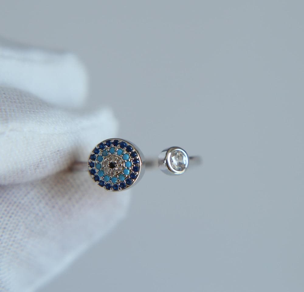 Evil Eye Premium Platinum Plated Ring - Sutra Wear