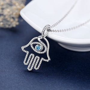 Evil Eye Blue Stone Hamsa 925 Sterling Silver Necklace and Pendant