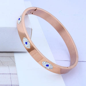 Stainless Steel Bangle Style Evil Eye Bracelet - Sutra Wear