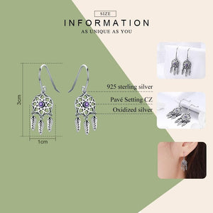 925 Sterling Silver Dream Catcher Drop Earrings - Sutra Wear