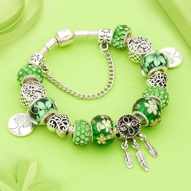 Silver Plated Dream Catcher Tree Of Life Charm Bracelet - Sutra Wear