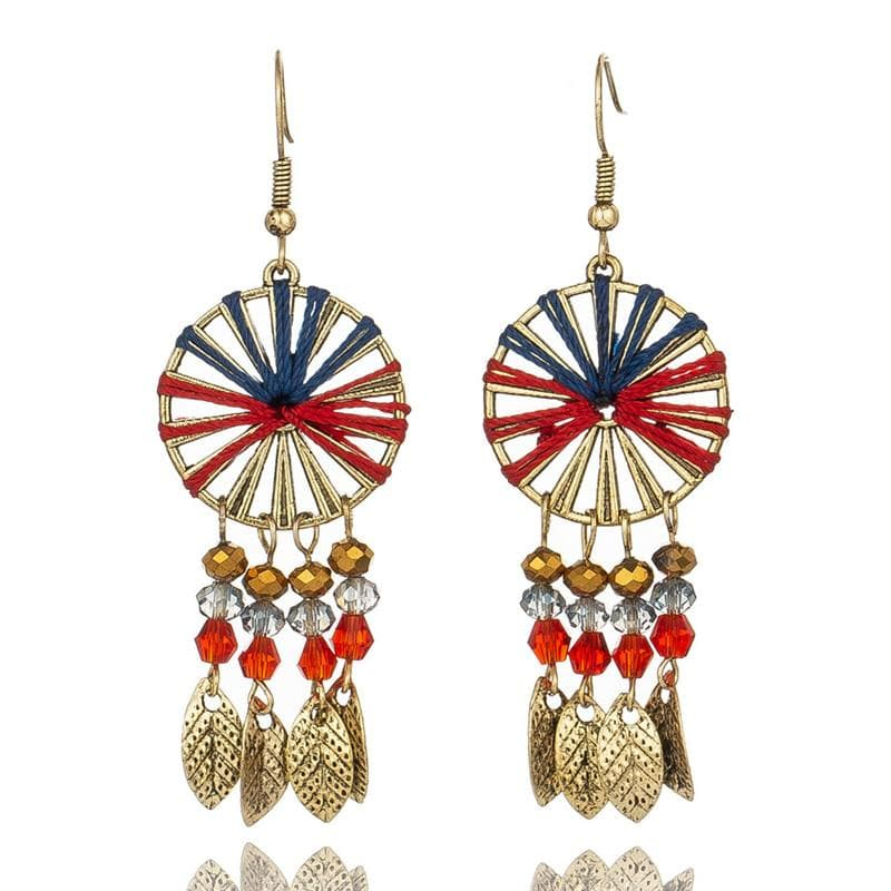 Red & Black Dream Catcher Earrings - Sutra Wear