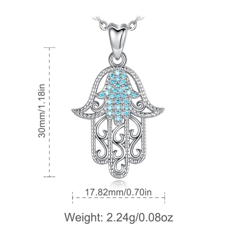 Blue Crystal 925 Sterling Silver Hamsa Hand Necklace - Sutra Wear