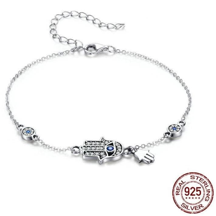 Hamsa Evil Eye 925 Sterling Silver Bracelet Adjustable - Sutra Wear