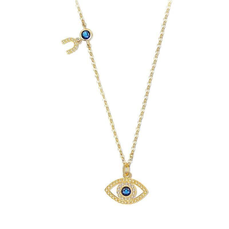 Evil Eye and horseshoe 925 Sterling Silver Necklace - Sutra Wear