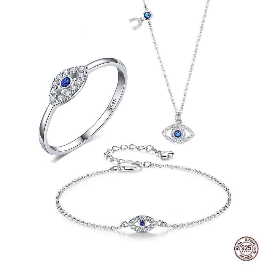 3 Piece Evil Eye 925 Sterling Silver Jewelry Set - Sutra Wear