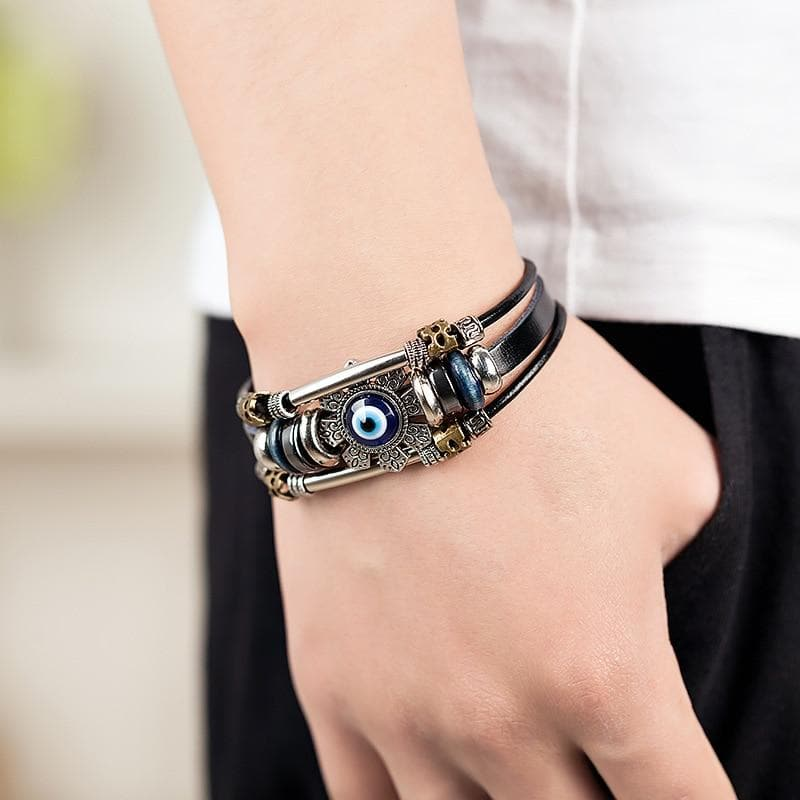 Leather Evil Eye Bracelet- Sutra Wear