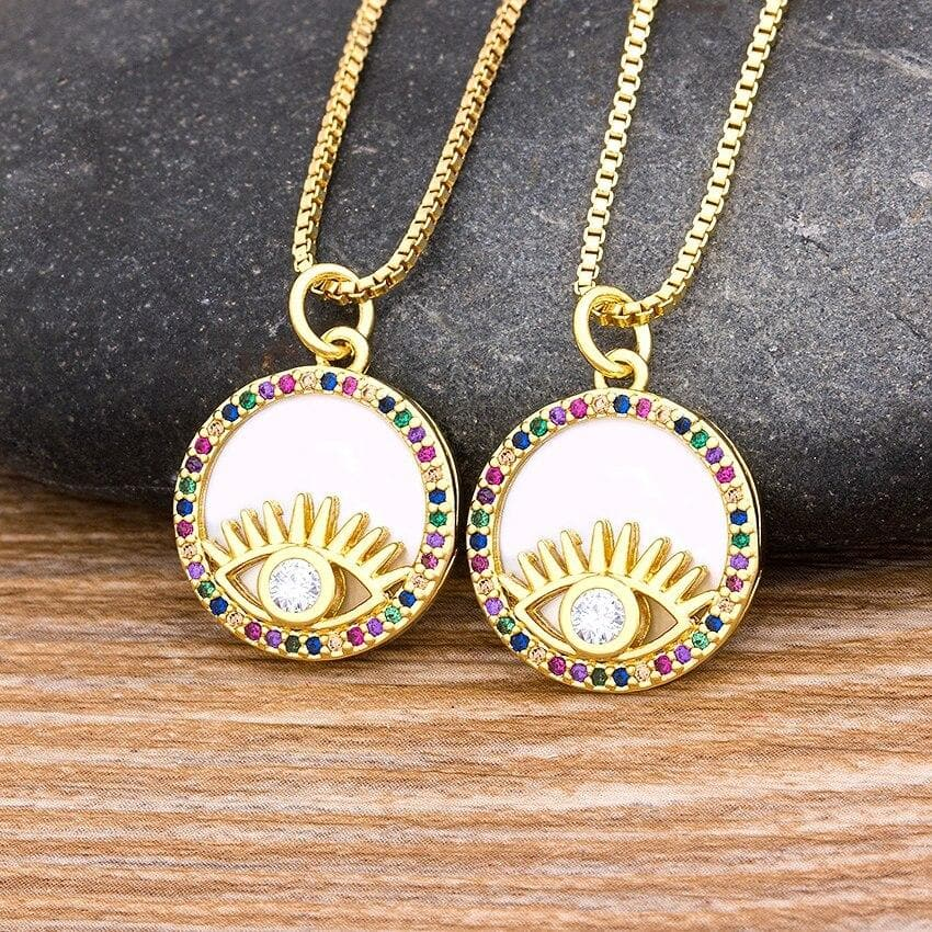 Round Zircon Eye Necklace- Sutra Wear