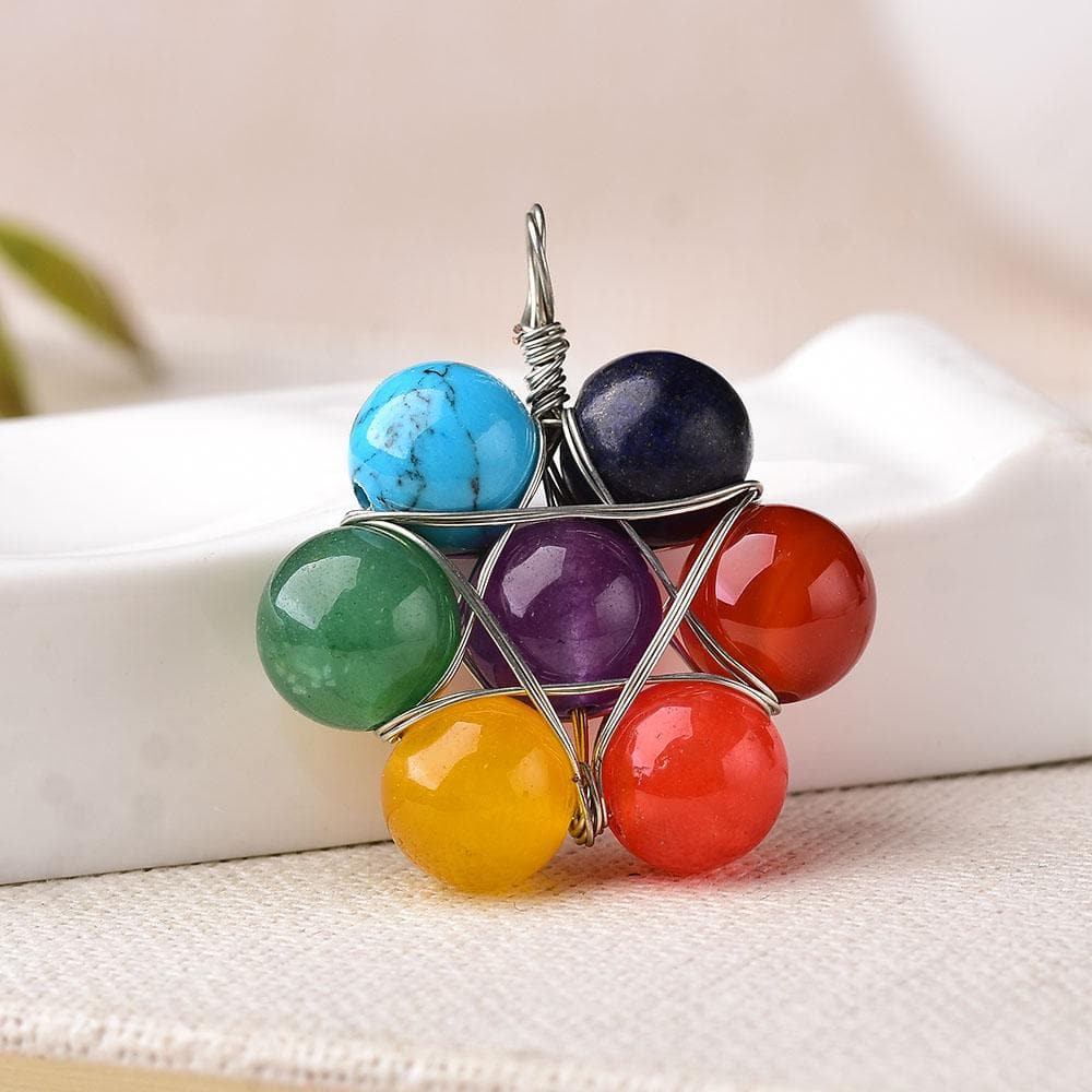 7 Chakra Natural Stone Pendant - Sutra Wear
