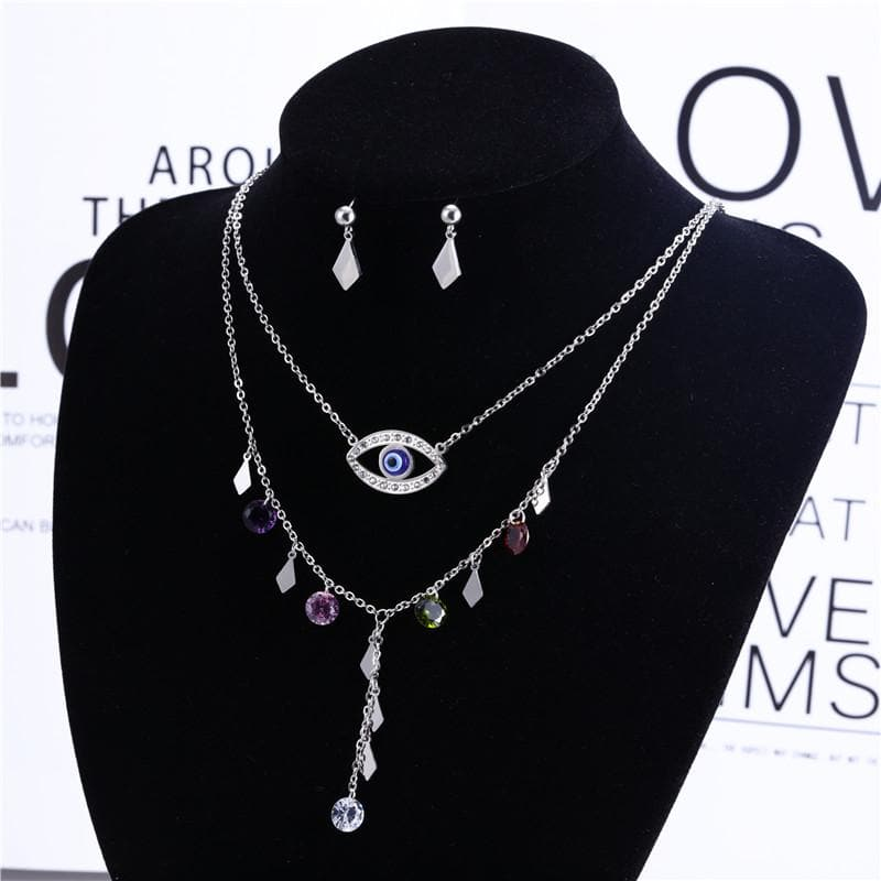 Evil Eye Necklace With Silver Studs Set - Sutra Wear
