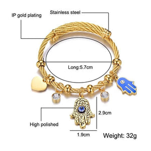 Hamsa Evil Eye High-Quality Stainless Steel Bracelet- Sutra Wear