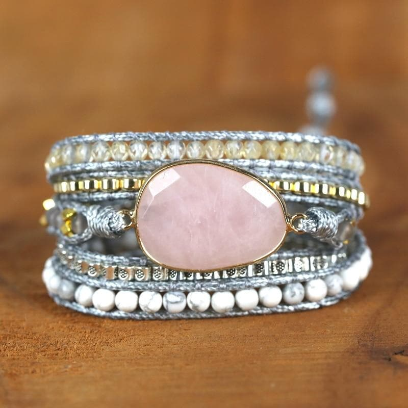 Natural Stone Rose Quartz 5 Strand Wrap Bracelet- Sutra Wear