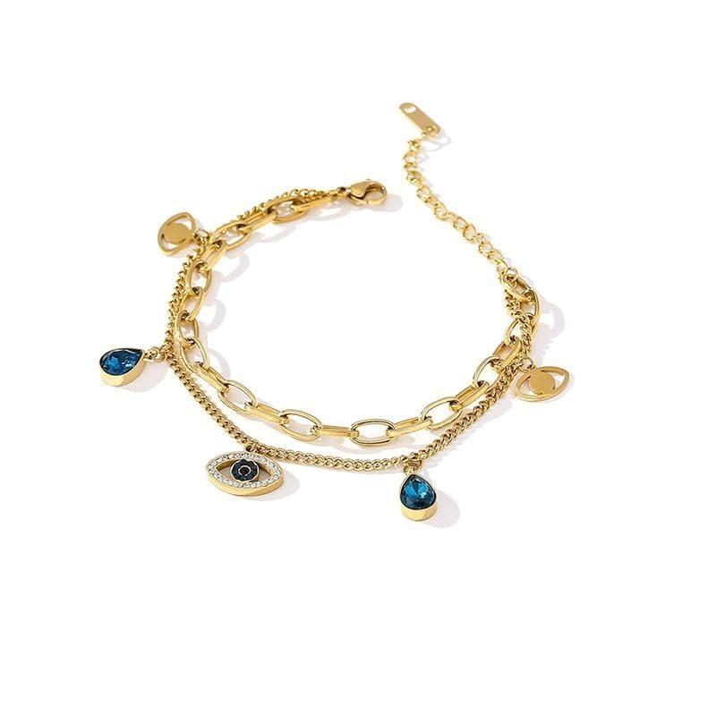 Gold Plated Layered Evil Eye Bracelet - Sutra Wear