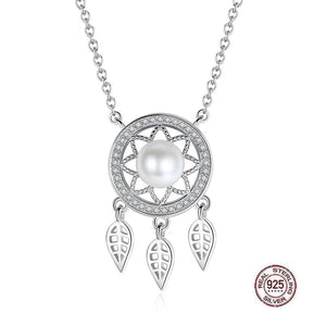 Dream Catcher White Pearl Sterling Silver Necklace - Sutra Wear