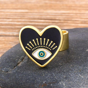 Basic Heart Evil Eye Adjustable Ring- Sutra Wear