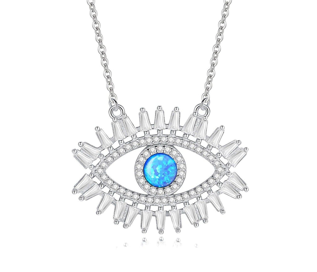 Evil Eye Silver Blue Crystal 925 Sterling Silver Necklace- Sutra Wear