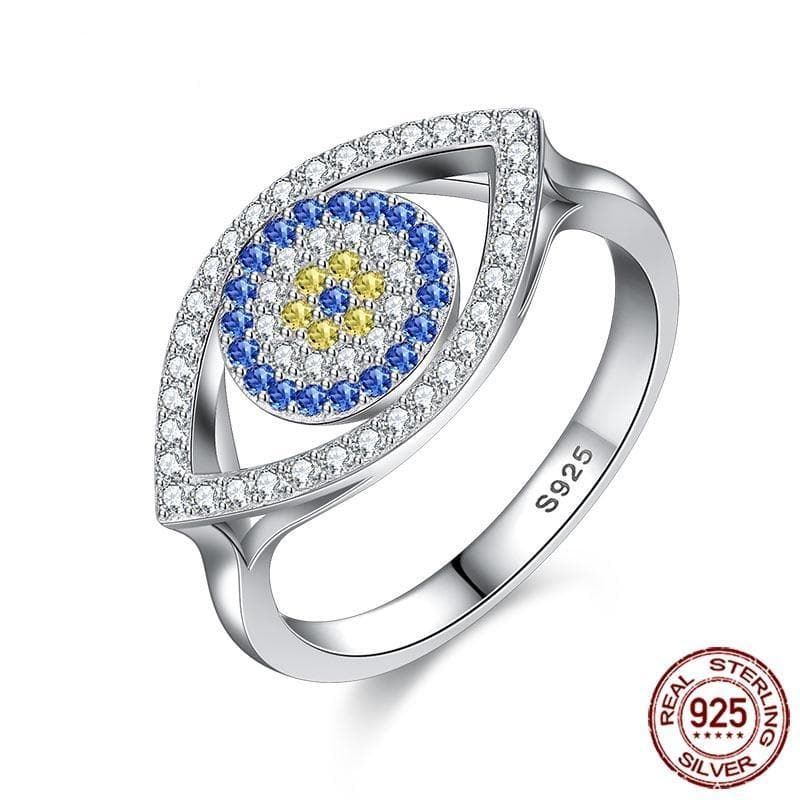 Evil Eye Zircon Stones 925 Sterling Silver Ring - Sutra Wear