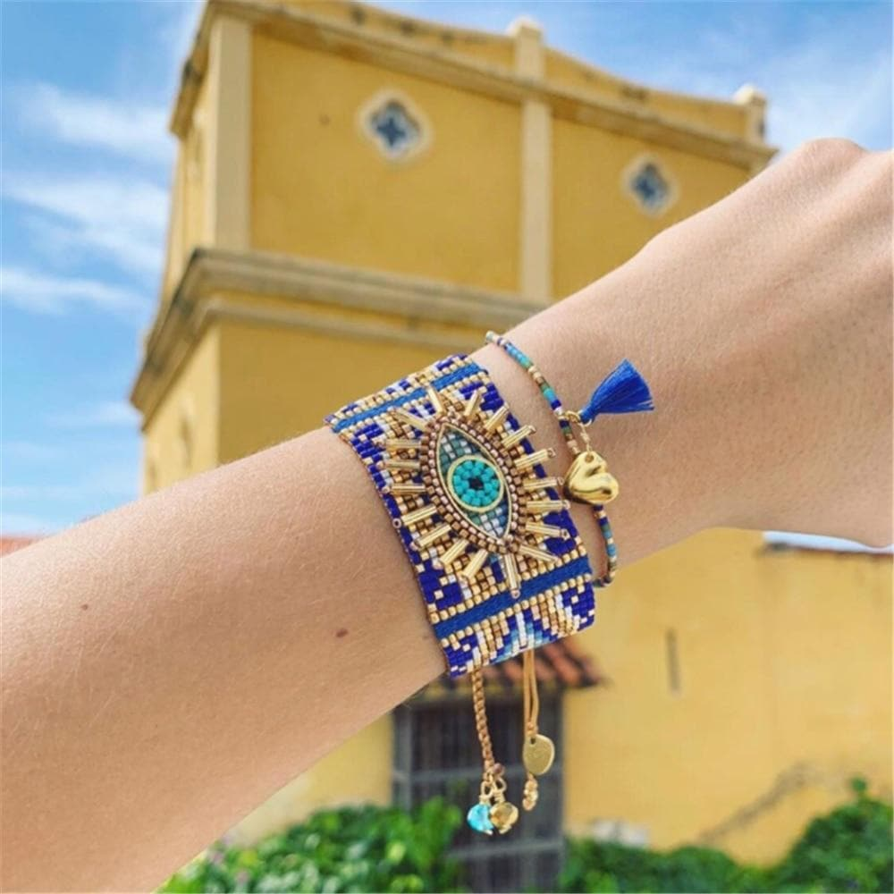 Boho Evil Eye Premium Handmade Beads Bracelet - Adjustable - Sutra Wear