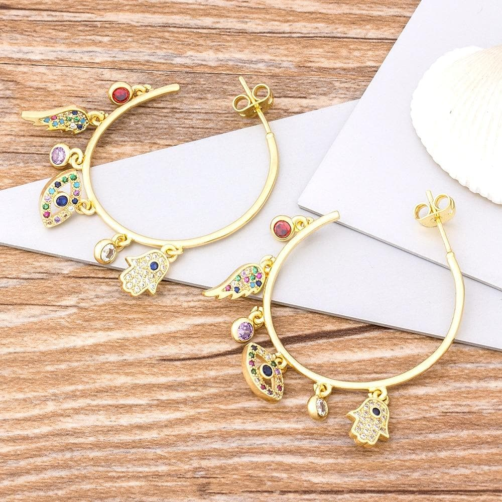 Evil Eye and Hamsa Hoop Earrings
