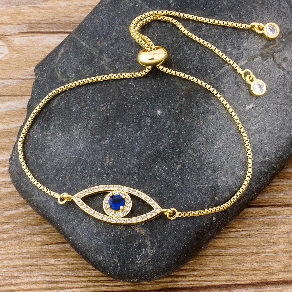 evil eye bracelet in gold - Sutra Wear