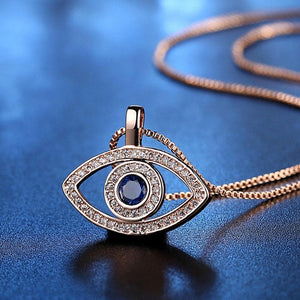 Evil Eye Blue Zircon Stone Necklace- Sutra Wear