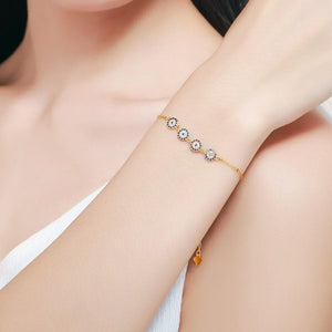 Four Evil Eye 925 Sterling Silver Bracelet - Sutra Wear
